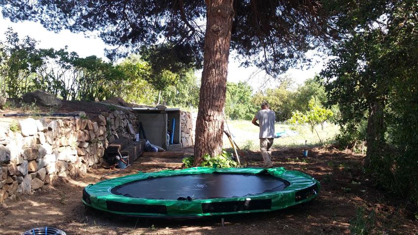 Trampoline in garden Villa Costa Barcelona
