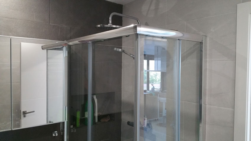 Shower in bathroom at the ground level